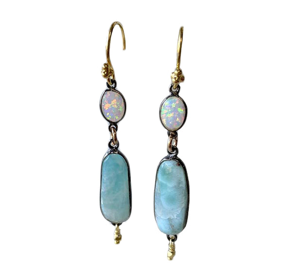 Larimar and Opal Earrings