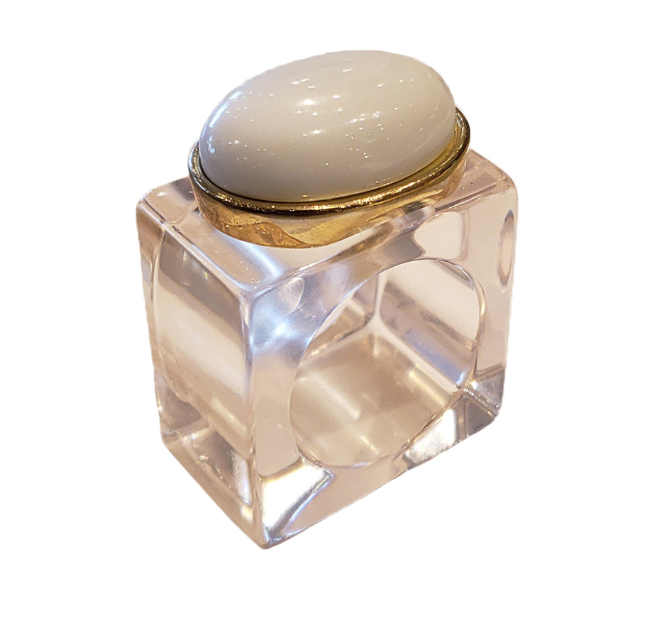 Lucite Napkin Ring with Cabachon