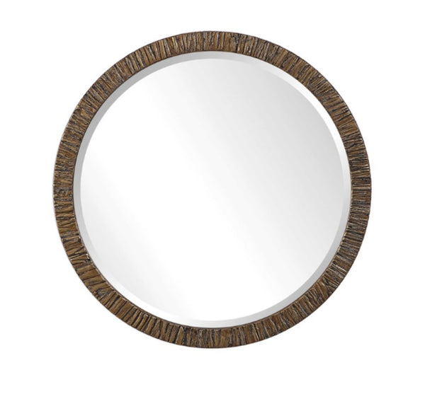 Wayde Gold Bark Round Mirror