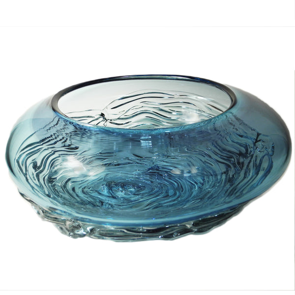 Steel Blue & Aqua Ripple Wave  Art Glass Bowl