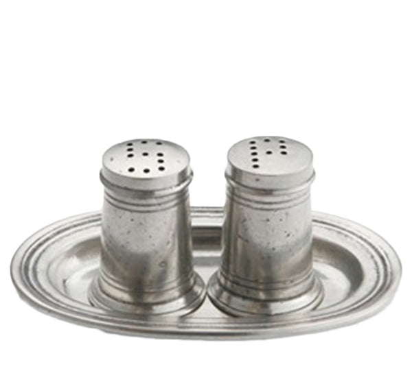 Tavola Salt & Pepper On Tray In Pewter