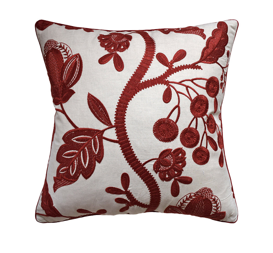 Alladale Embroidered Pillow in Red