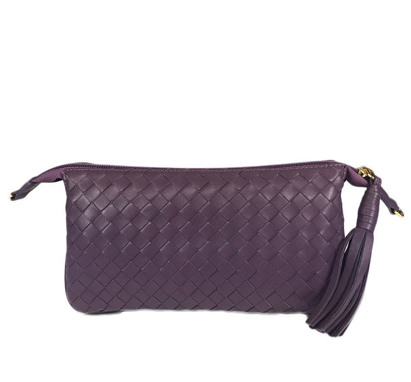 Three Part Lilac Woven Leather Purse