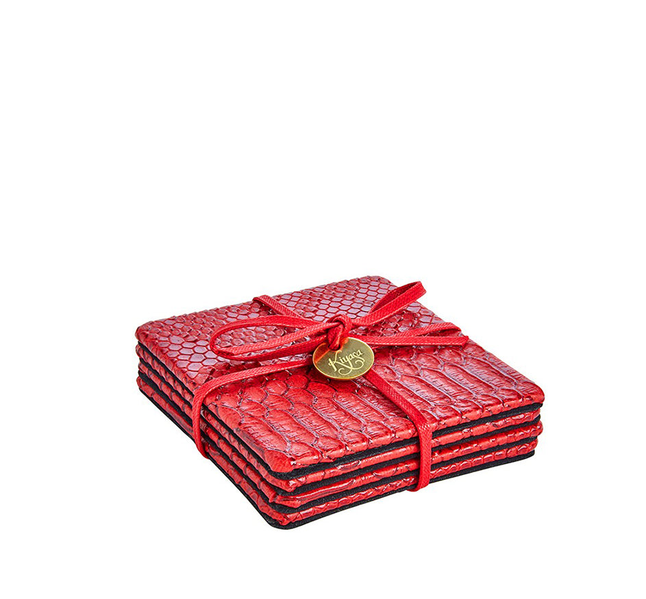 Square Coasters with Cording in Python Red Dragon (Set of 4)