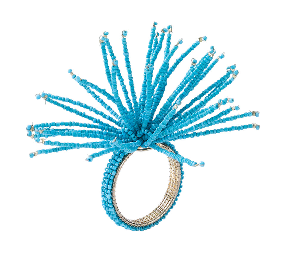 Spider Bead Burst Napkin Ring in Turquoise (Set of 4)