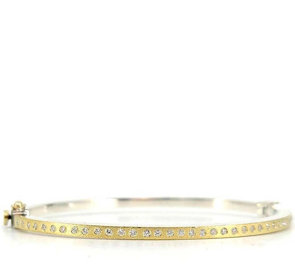 Adam Thin Gold Bangle With Diamonds (available in 2 colors)