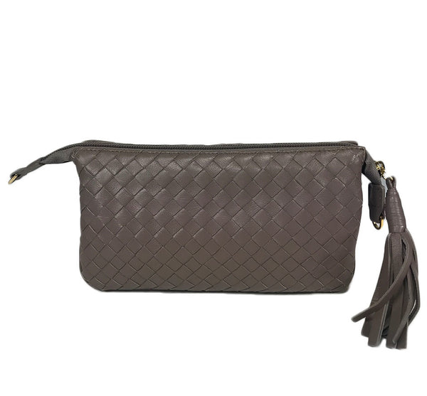 Three Part Taupe Woven Leather Purse