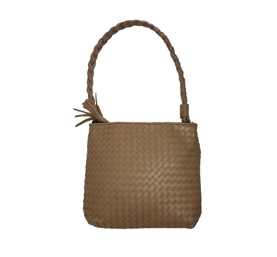 Taupe Flat Braided Strap Bag