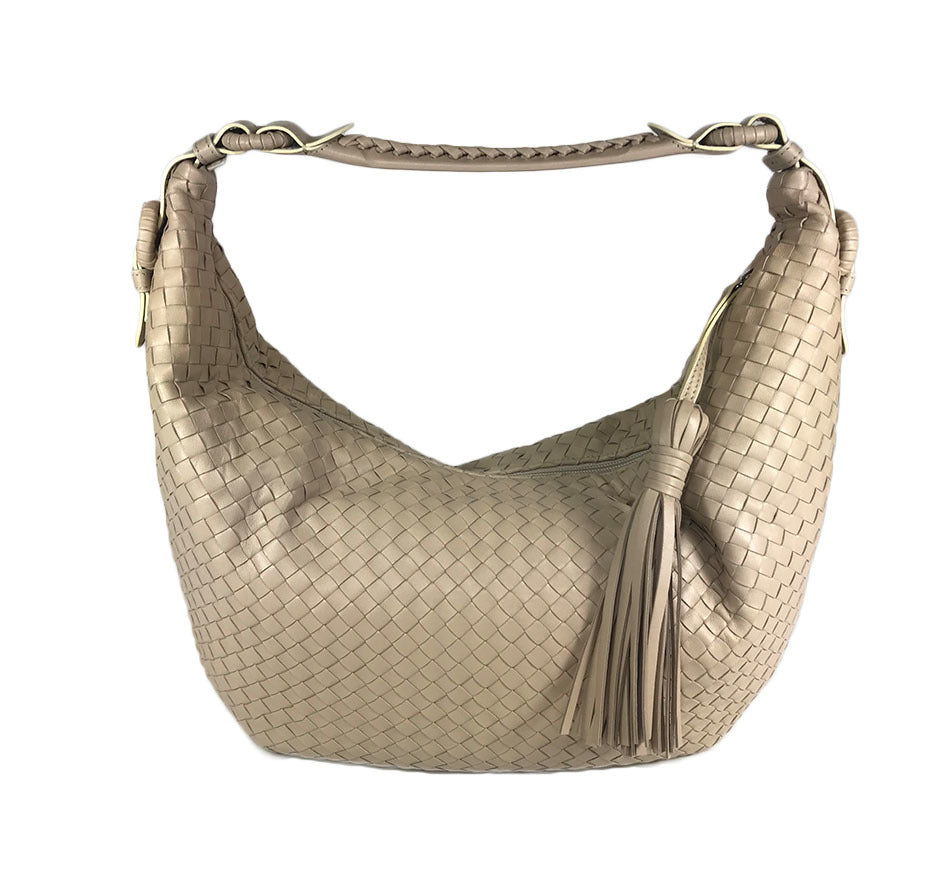 Braided Beige Woven Leather Hobo Bag