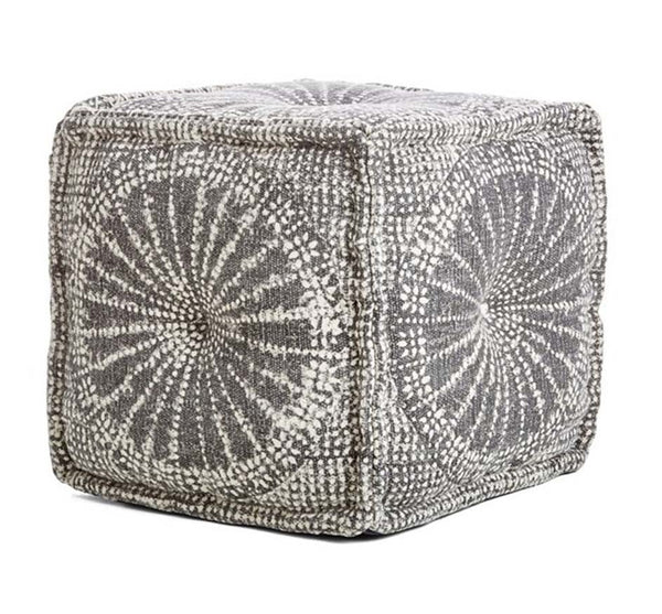 Gray & White Pouf