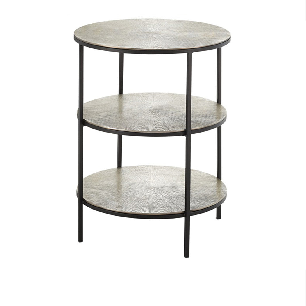 Three Tier Textured Metal Accent Table