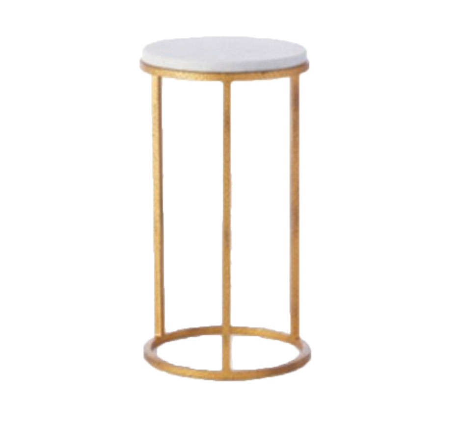 Round Marble And Brass Pedestal Med.
