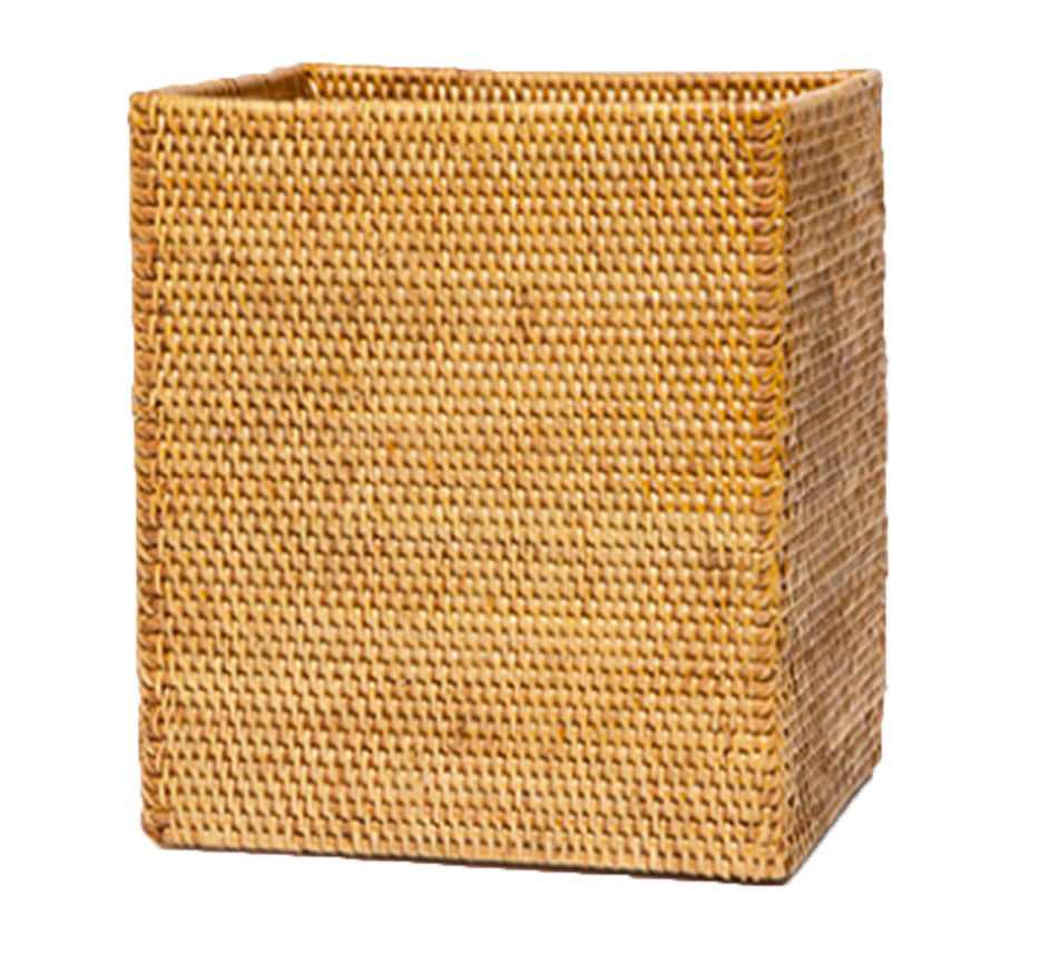 Dalton Brown Rattan Wastebasket Rectangular