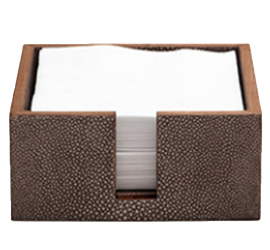 Dark Mushroom Shagreen Cocktail Napkin Holder