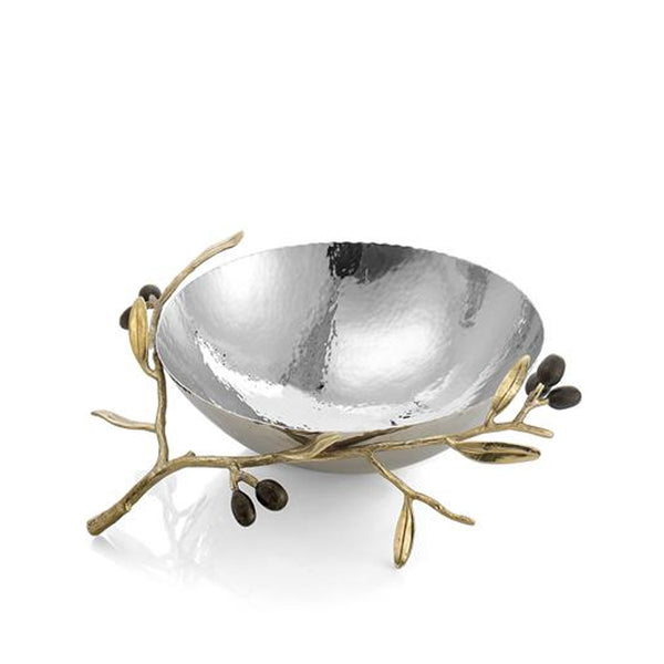 Olive Branch Medium Serving Bowl in Gold