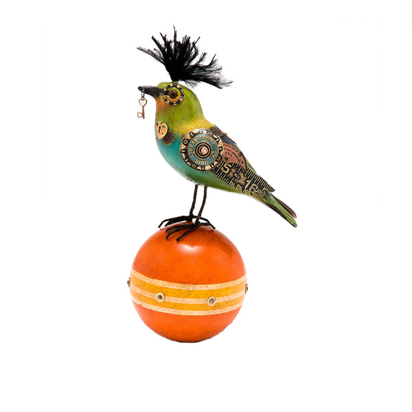 Finch on Ball with Key
