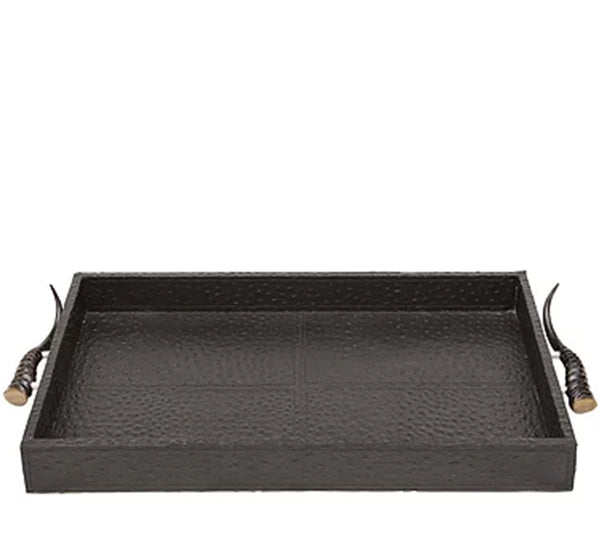 Brown Leather Tray With Horn Handles