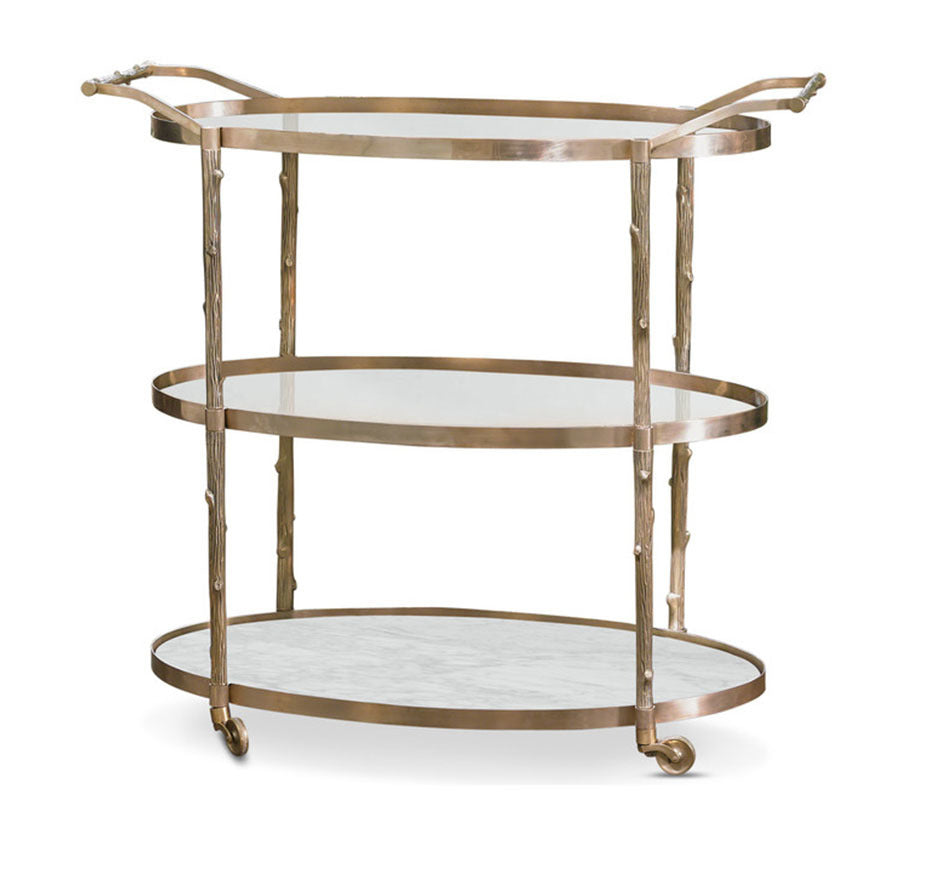 Arbor Bar Cart In Brass