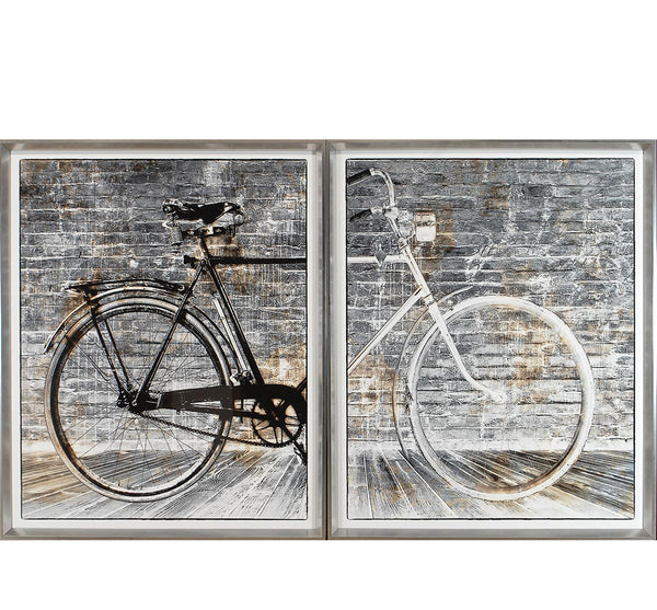 Bicycle Framed Print Diptych 69.25 x 39.25""