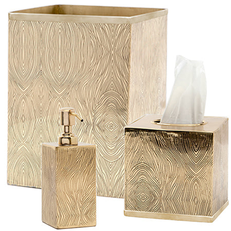 Humbolt Square Wastebasket in Shiny Brass