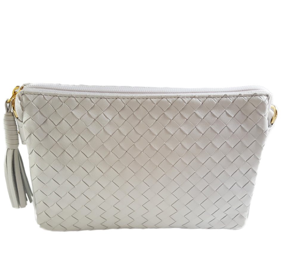 Tripocket White Woven Leather Purse