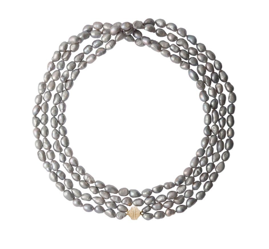 Opera Irregular Double Strand Gray Pearl Necklace