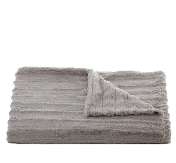 Channel Faux Fur Throw Silver