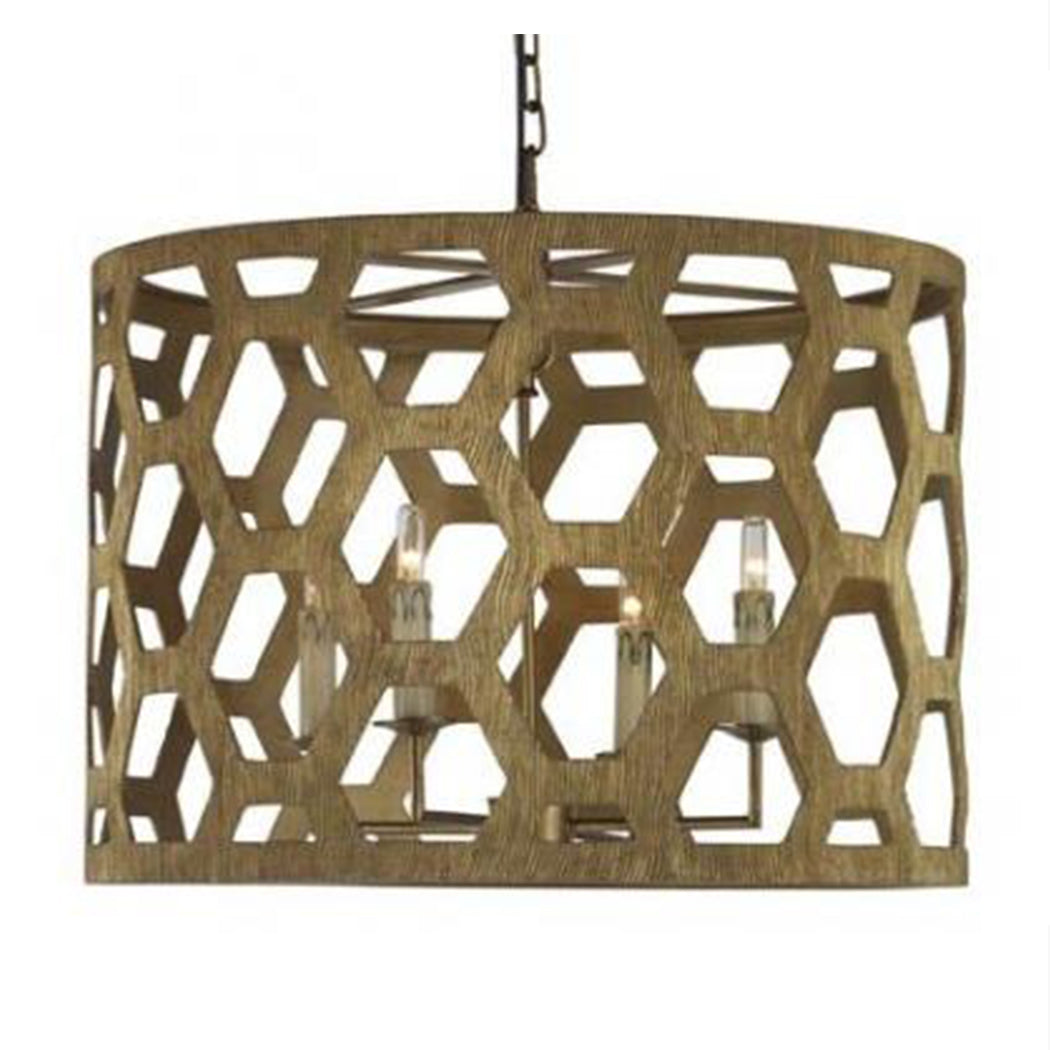 Angeline Serrated Chandelier in Aztec Gold
