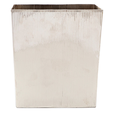 Redon Rectangular Wastebasket in Shiny Nickle