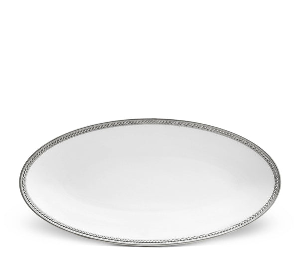 Soie Tressee Small Oval Platter In Platinum