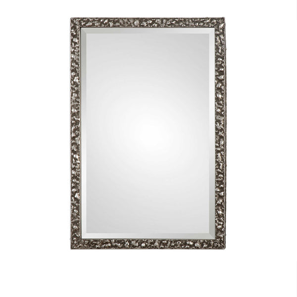 Heavily Textured Silver Framed Mirror 27x39