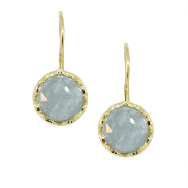 Round Aquamarine & Gold Vermeil Drop Earrings