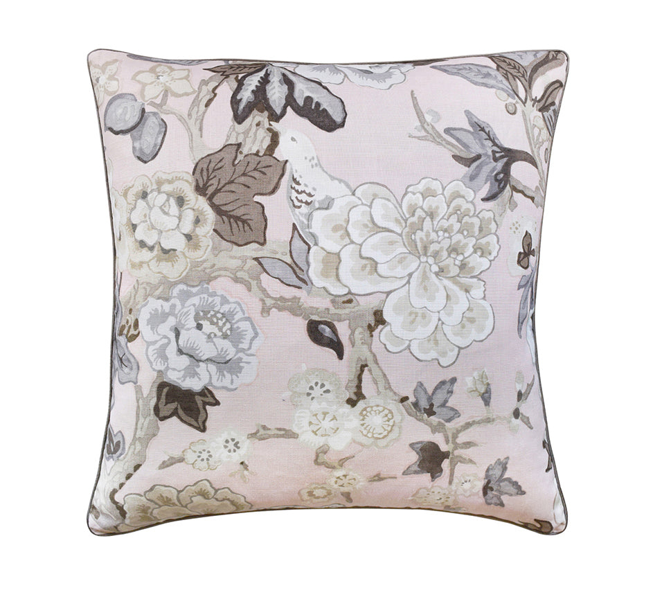 Grey Blossoms Pillow in Blush
