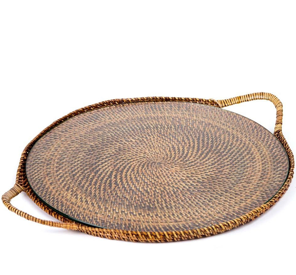 Woven Handled Round Serving Tray