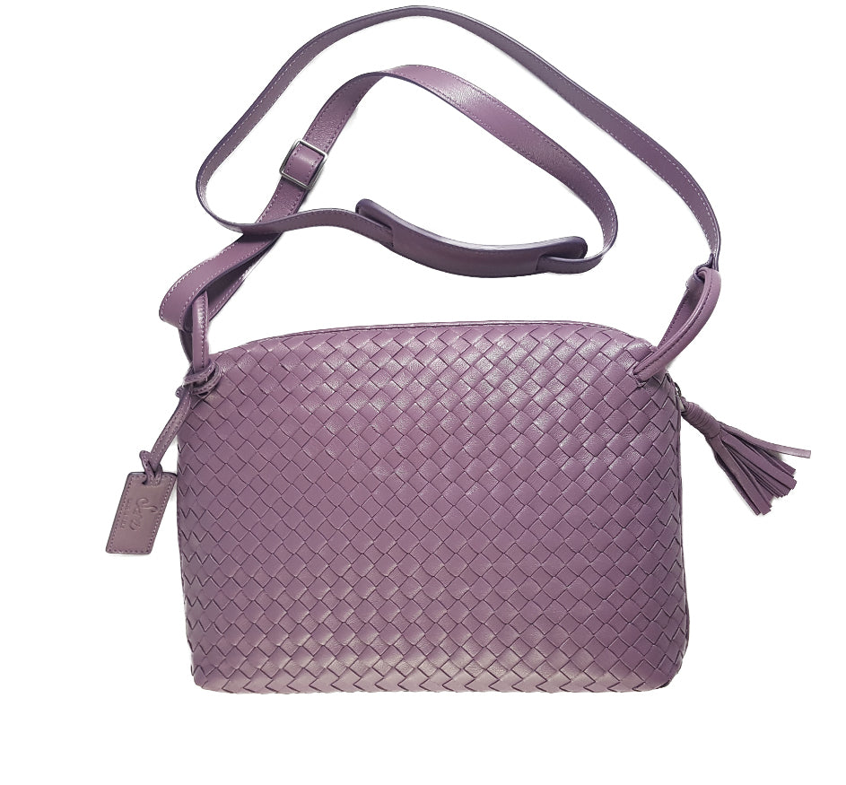 Woven Leather Medium Crossbody Bag in Lilac