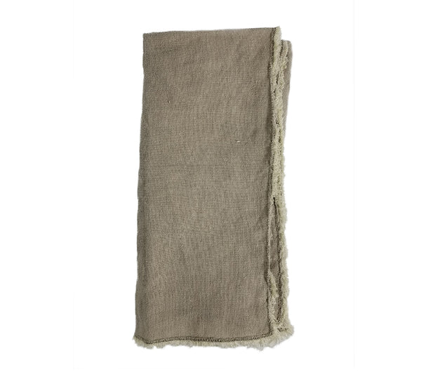 Fringed Stone Washed Napkin In Natural