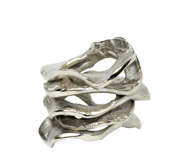 Flux Napkin Ring in Silver (Set of 4)