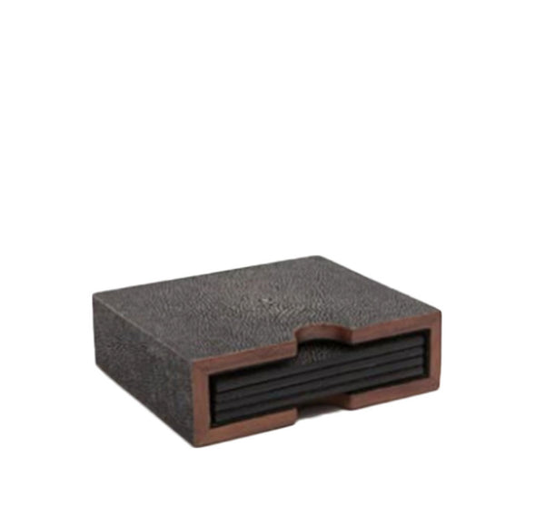 Dark Mushroom Shagreen Coasters (Set of 4)