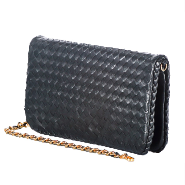 Black Woven Leather Envelope Handbag (5 Colors)