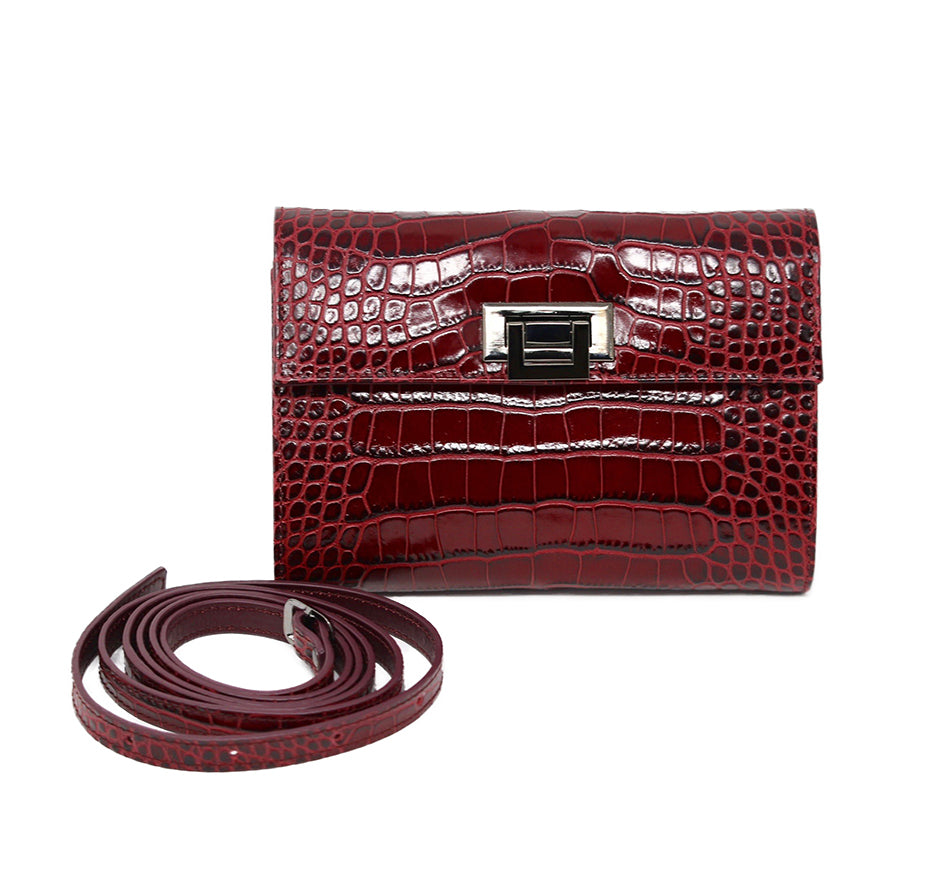 Burgundy Crocodile Embossed Petite Purse