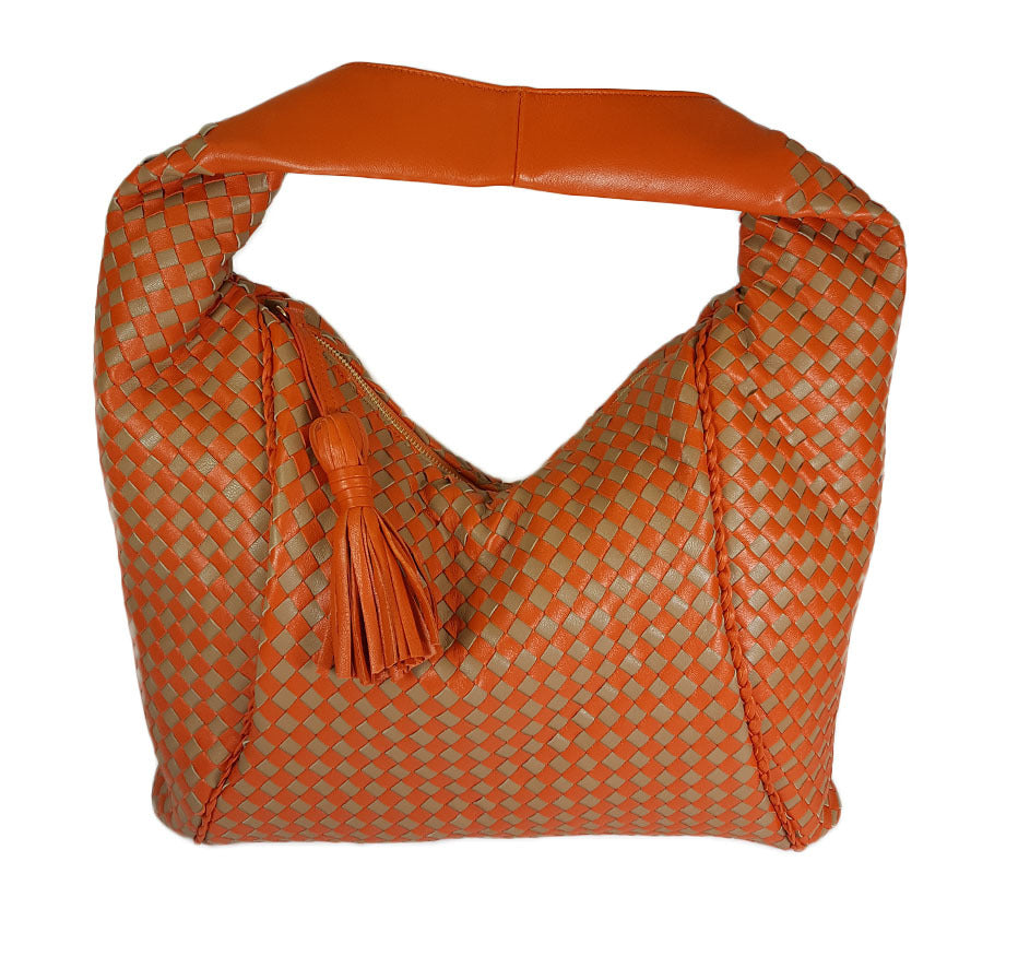 Orange & Taupe Woven Leather Hobo