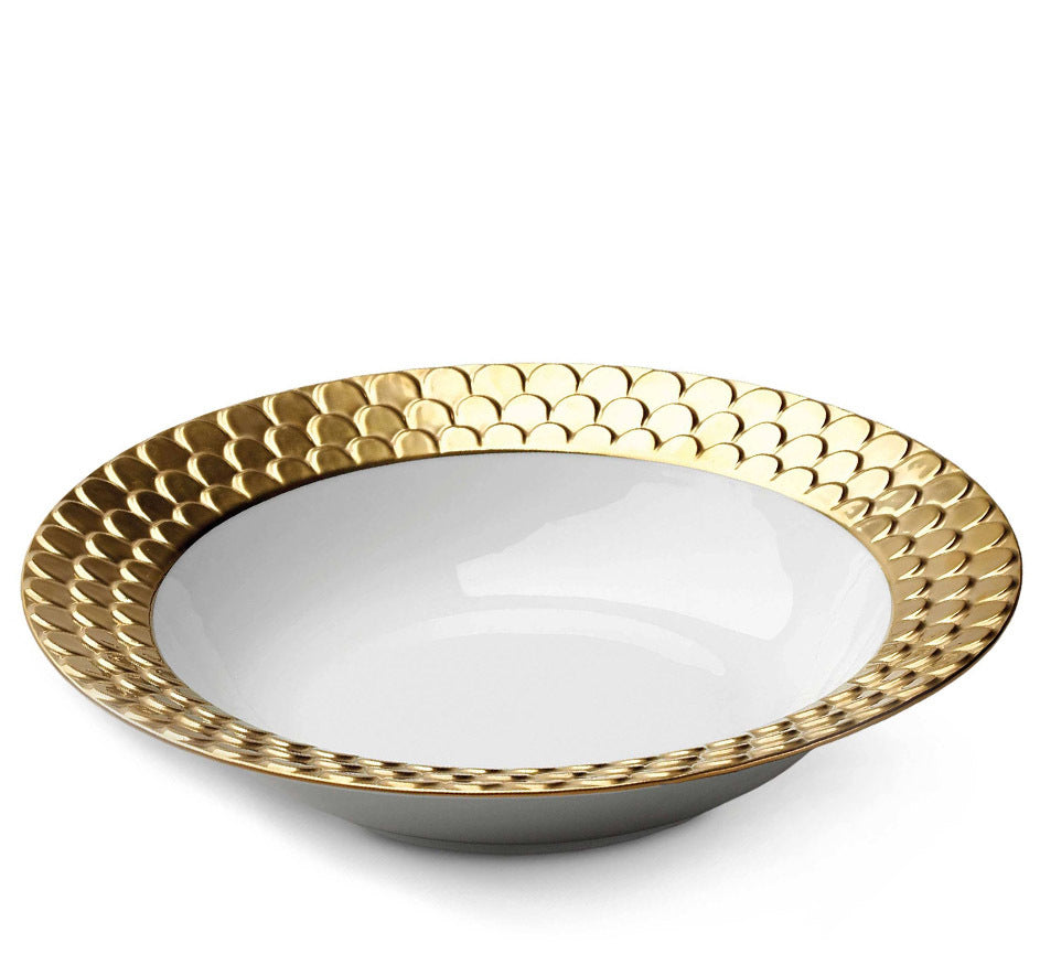 Aegean Rimmed Serving Bowl In Gold