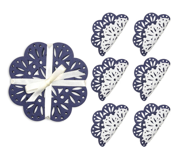 Fete Reversible Coasters in White & Navy (Set of 6)