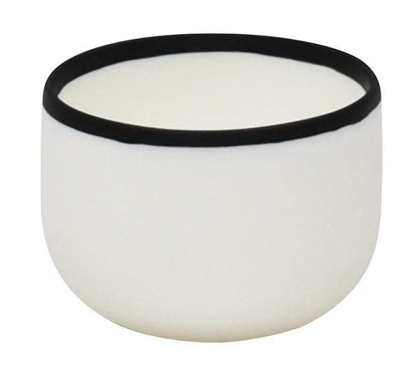 Resin Dessert Bowl In White With Black Rim