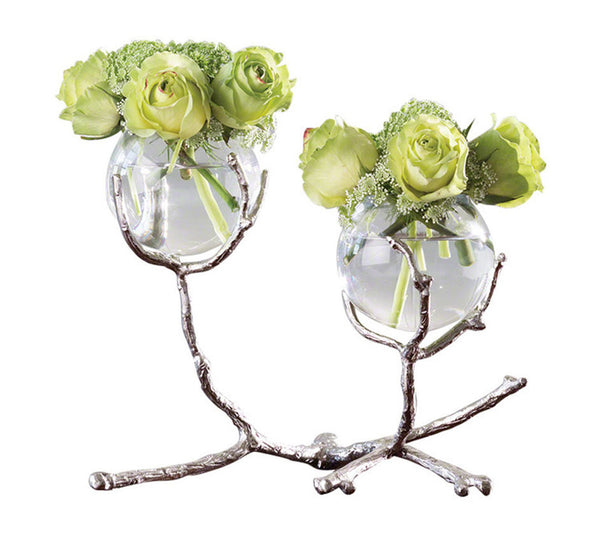 Glass And Brass Double Twig Vase