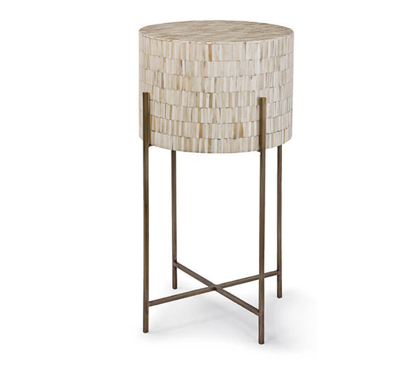 Bone And Brass Mosaic  Side Table