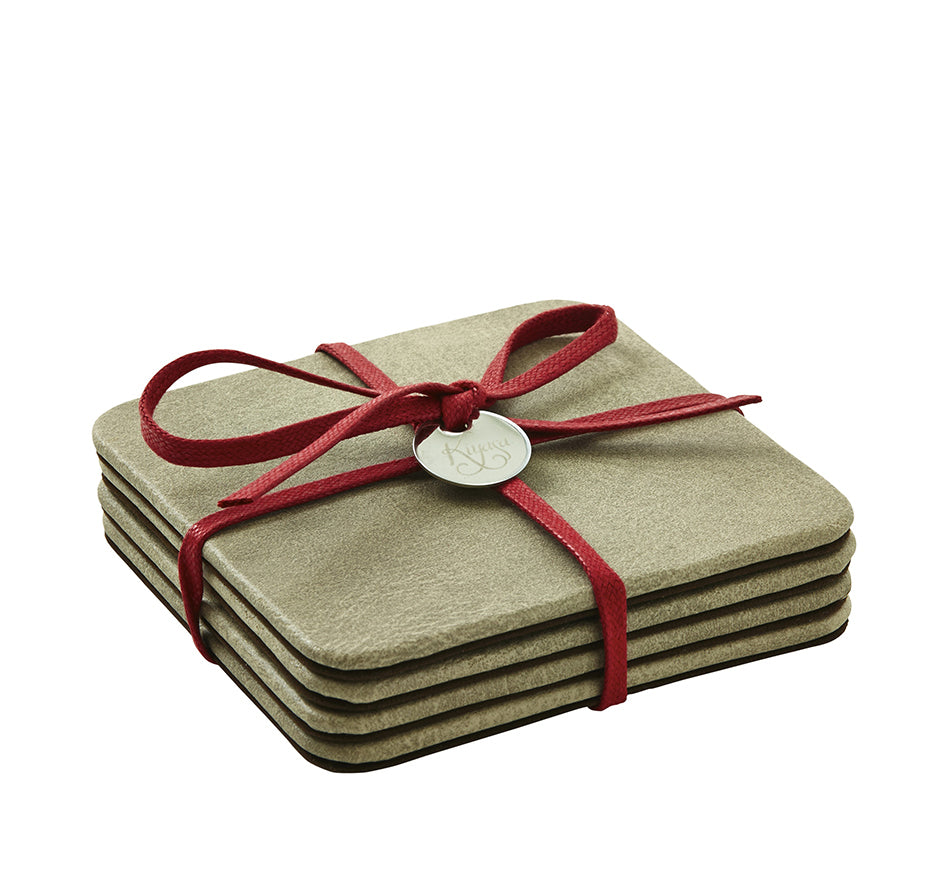 Square Coasters with Cording in Suede Pewter (Set of 4)