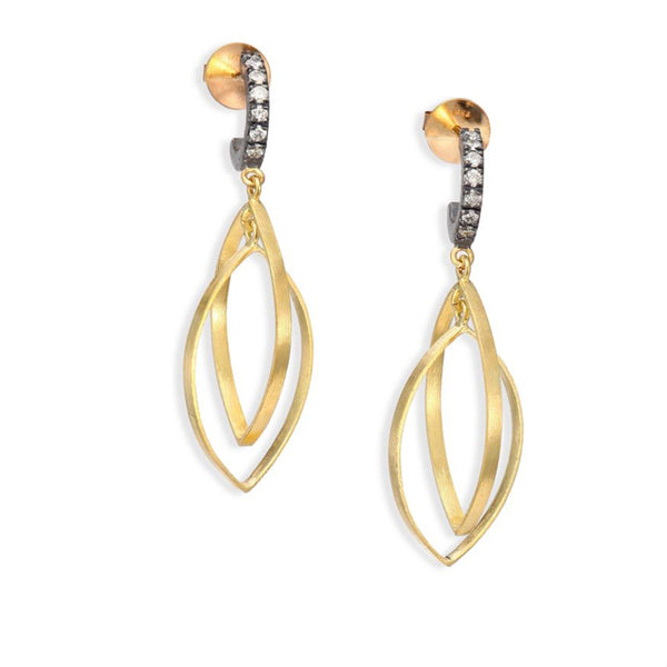 Double Teardrop Earrings with Diamond Top