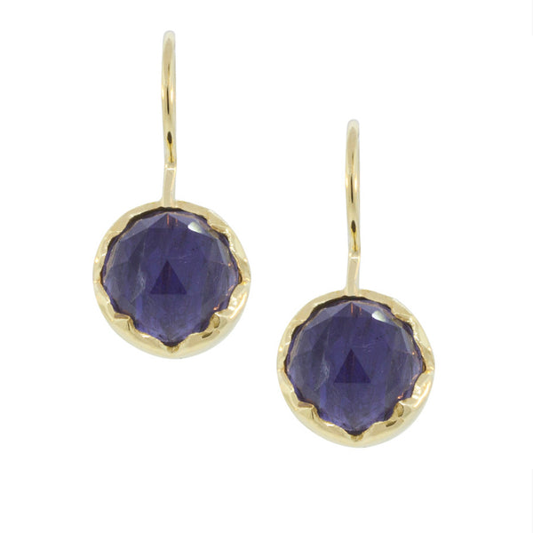 Iolite & Gold Vermeil Round Drop Earring