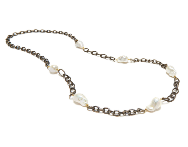 Gunmetal Chain Necklace With Pearls